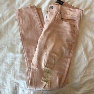 Blush distressed jeans